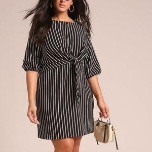 New Plus Size Pinstripe Tie Front Dress